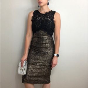 New Look Gold & Black Lace Sleeveless Sheath Dress
